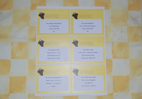 Printed sheet of address labels