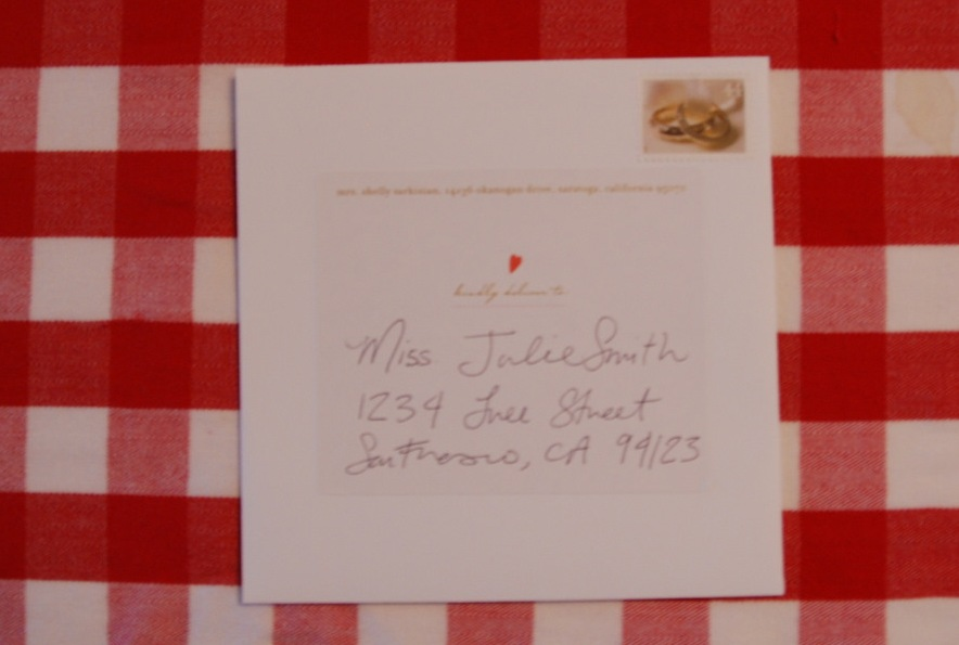 Handwritten address label