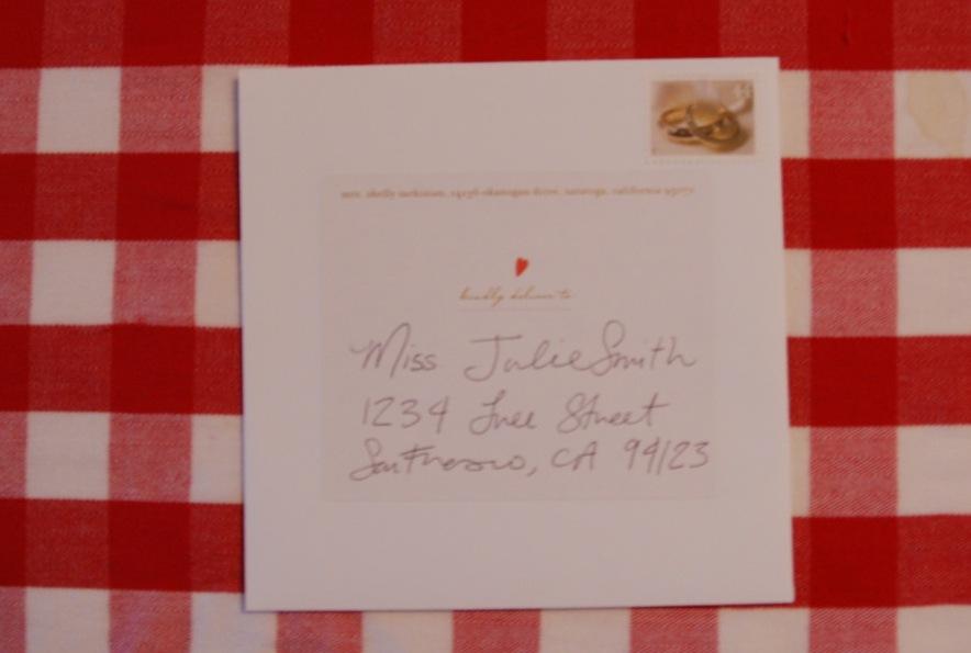 Handwritten address label
