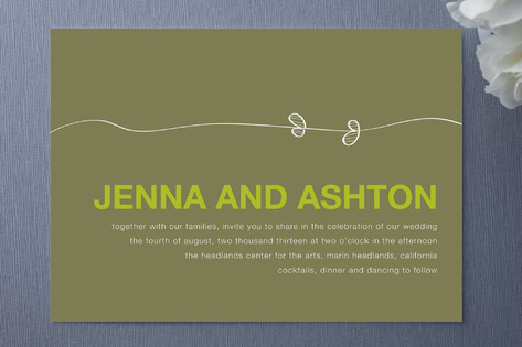 Select from a wide range of eco-friendly wedding invitations. Pictured here: Olive Branch Wedding Invitations by R Studio.