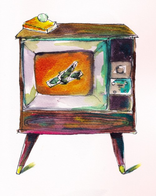 Vintage TV Water Color