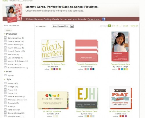 Choose your business or mommy card design.