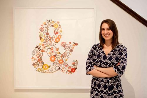 "Hailey Myziuk with her piece ""Elegampersand"""
