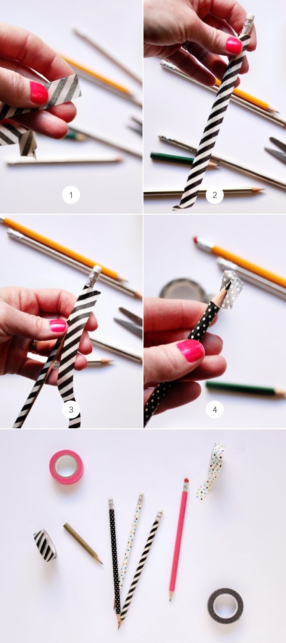 diy washi tape pencils julep. Black Bedroom Furniture Sets. Home Design Ideas