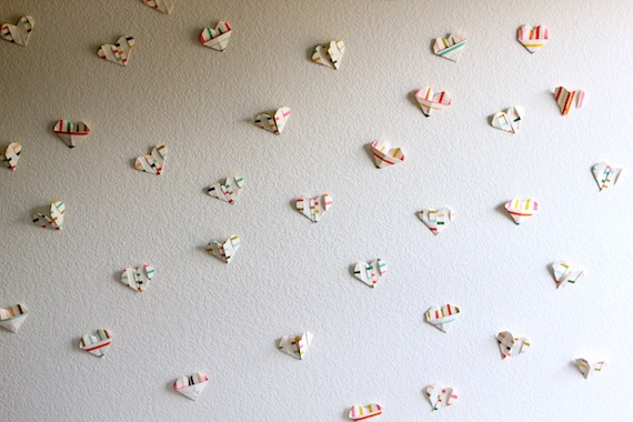 Folded paper heart wall DIY