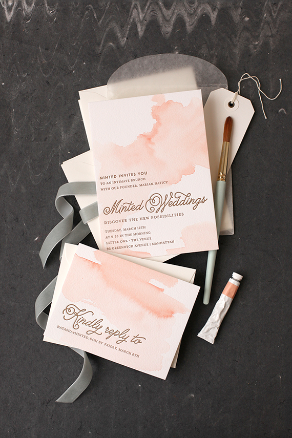 Diy watercolored letterpress invites julep junglespirit Images