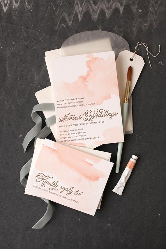 DIY Watercolored Letterpress Invites