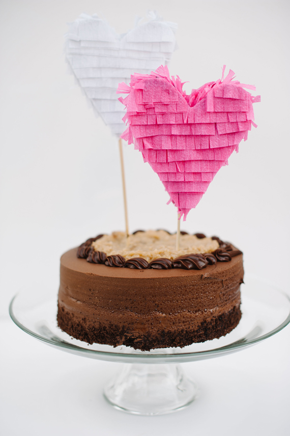 Fringe heart wedding cake toppers