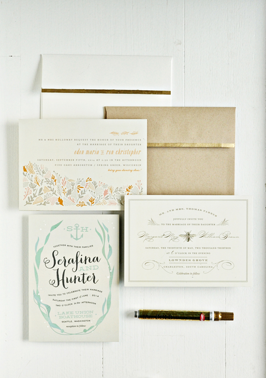 diy gold leafing wedding invitations and envelopes | julep, Wedding invitations