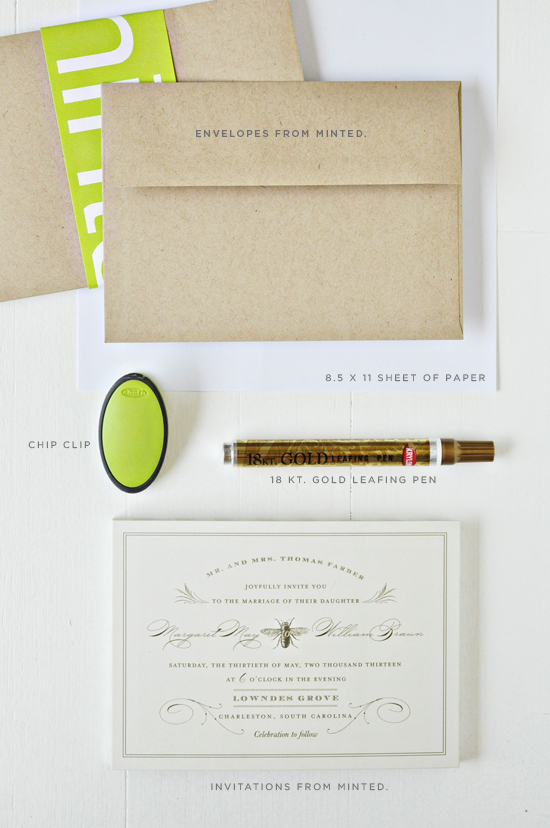 DIY Gold Leafing Wedding Invitations And Envelopes Julep