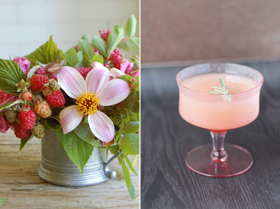 Pretty florals and Grapefruit Rosemary Cocktail