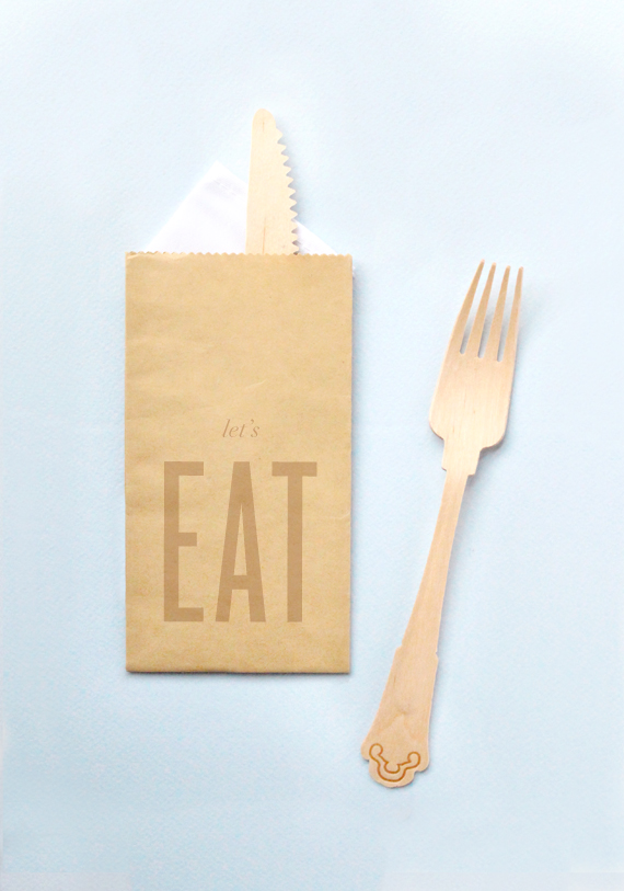 Kraft bag and Birch cutlery
