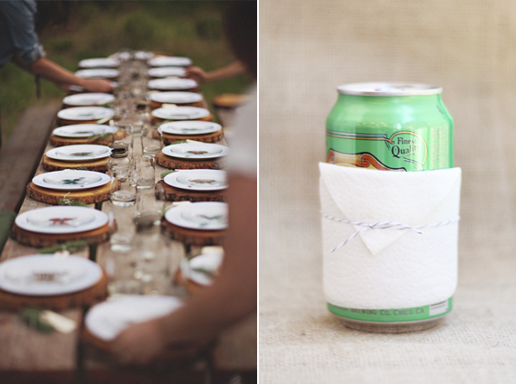 Rustic table and Napkin Coozie