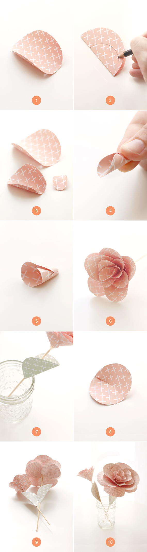 How to make rose paper bouquet, FREE template and full tutorial | 2138x570