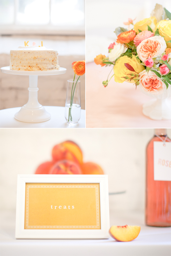 cake, flowers, table sign, drink tag