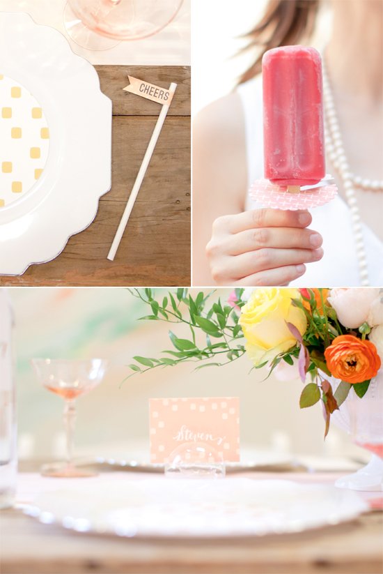 giant confetti, drink flag, wine tag, mini note cards, placesetting