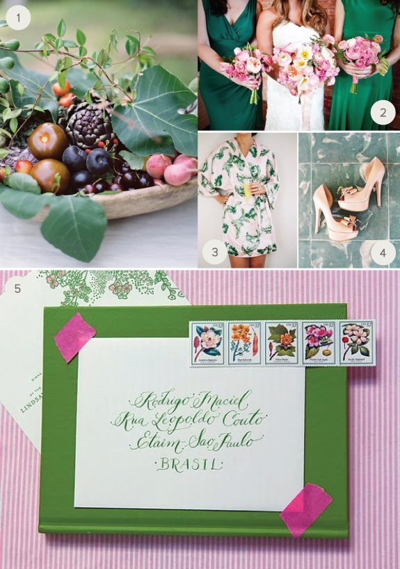 green and pink weeding