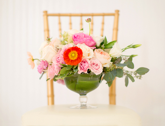 poppy garden rose centerpiece