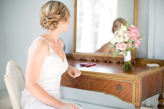 bride at vanity