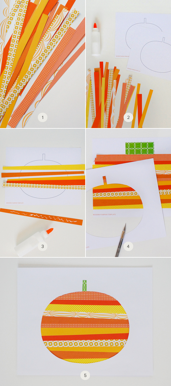 Mer Mag Paper Strip Pumpkin Step by Step