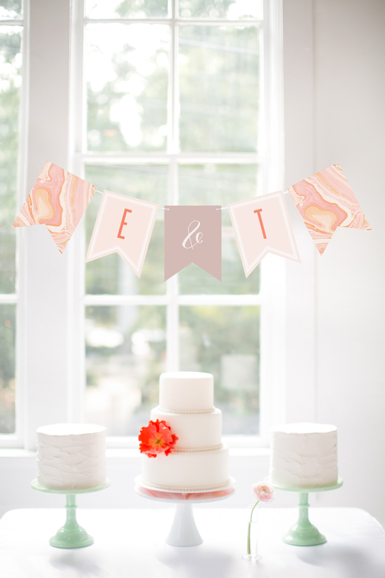 bunting banner over cake stands