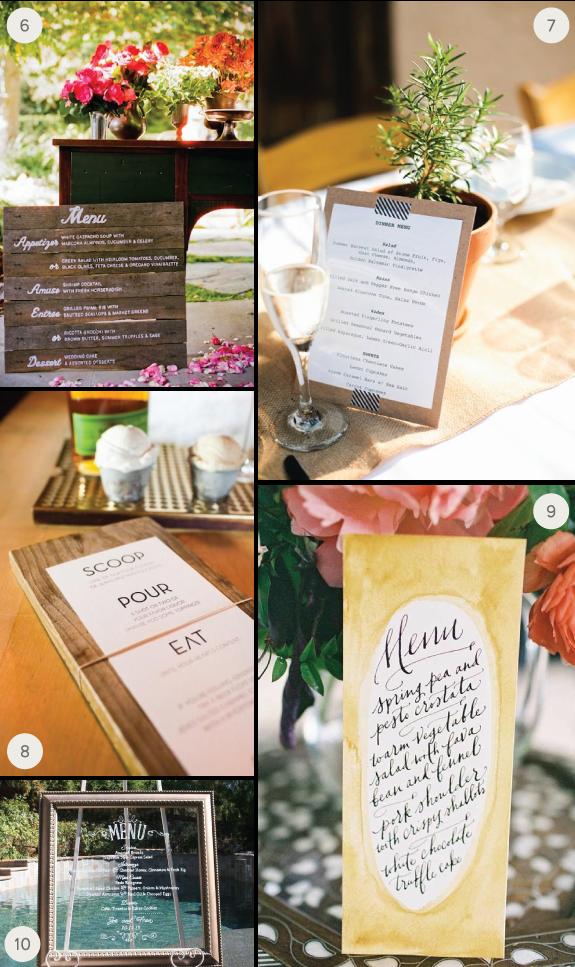 10 Ideas For Your Wedding Menus Julep