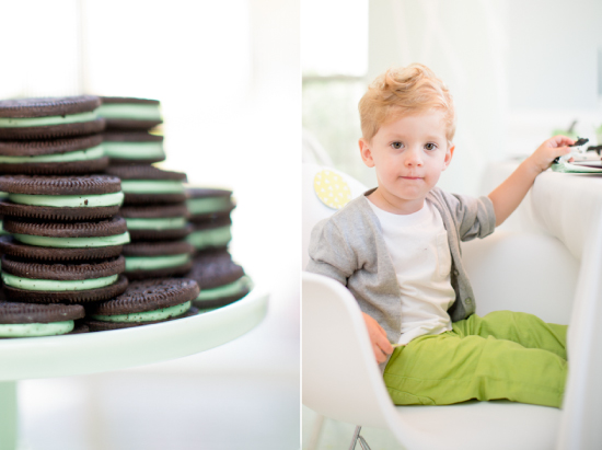 Oreos on jadite cake stand