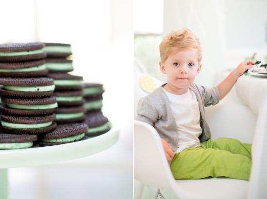 Oreos on jadite cake stand