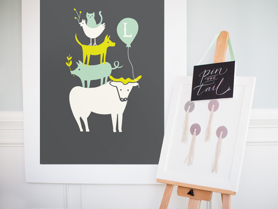 Farm Party art print and pin the tail game by moglea