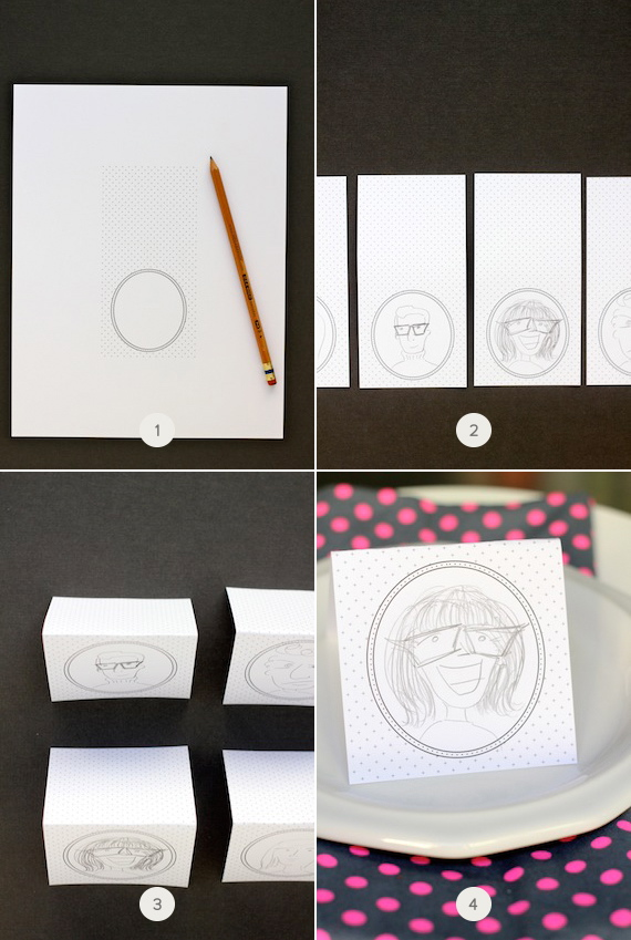 illustrated portrait place cards