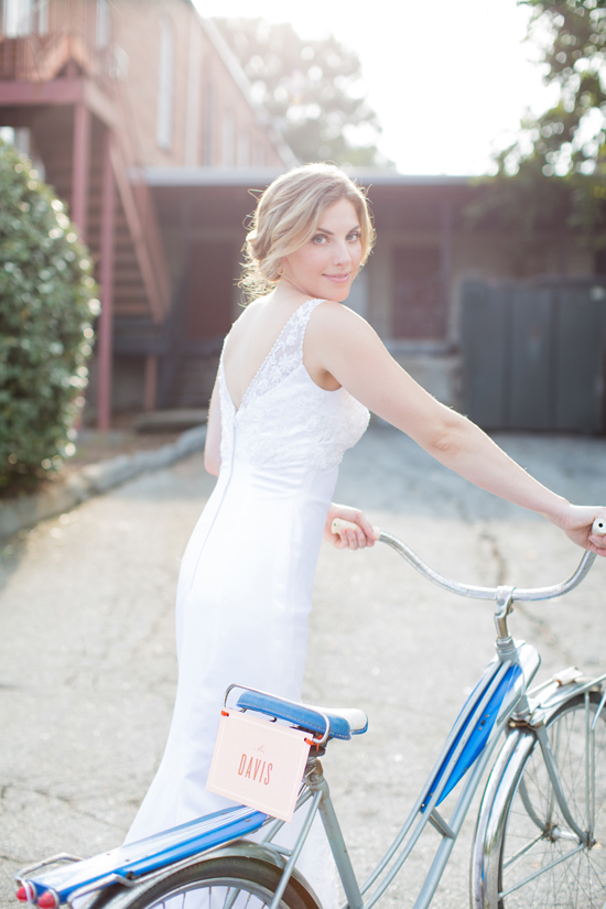 bride on getaway bike