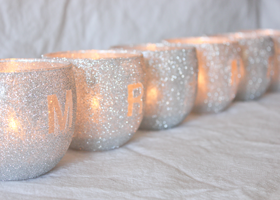 Diy glitter votive head table decor 6 Julep