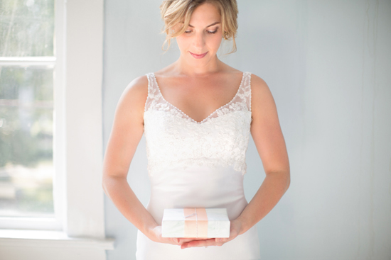 bride with gift box