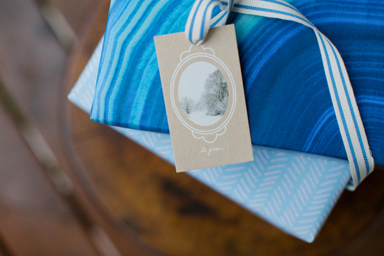 minted winter gifts, ribbon and tag