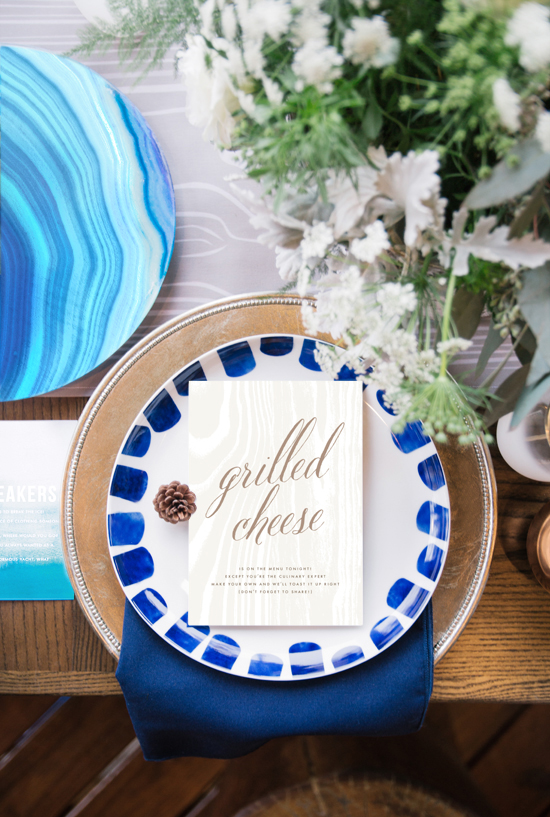 minted cabin dinner, big sur by annie clark and ombre by linda and harriett