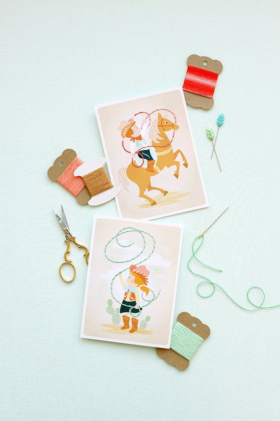 cowboy cowgirl lacing cards