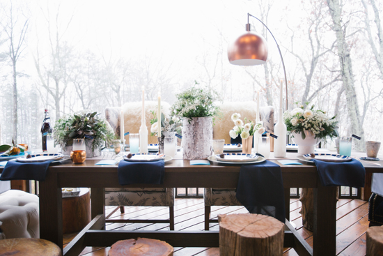 minted winter cabin dinner