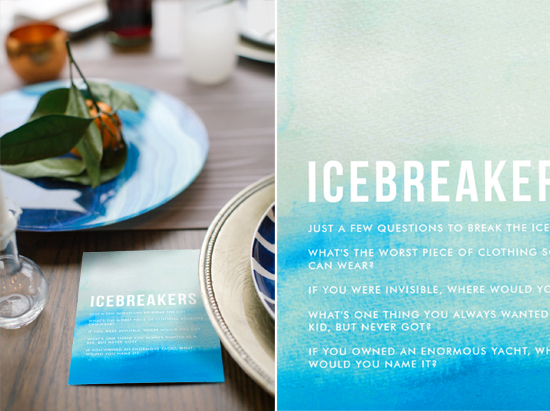 icebreaker dinner conversation starter card, ombre by linda and harriett