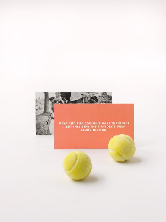 Wedding favor from couple's dogs: edible gumball tennis balls