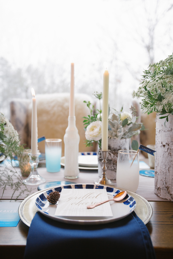 winter cabin dinner place setting
