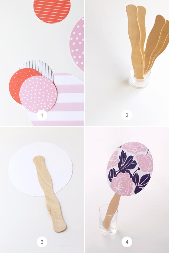 Minted confetti diy hand fans