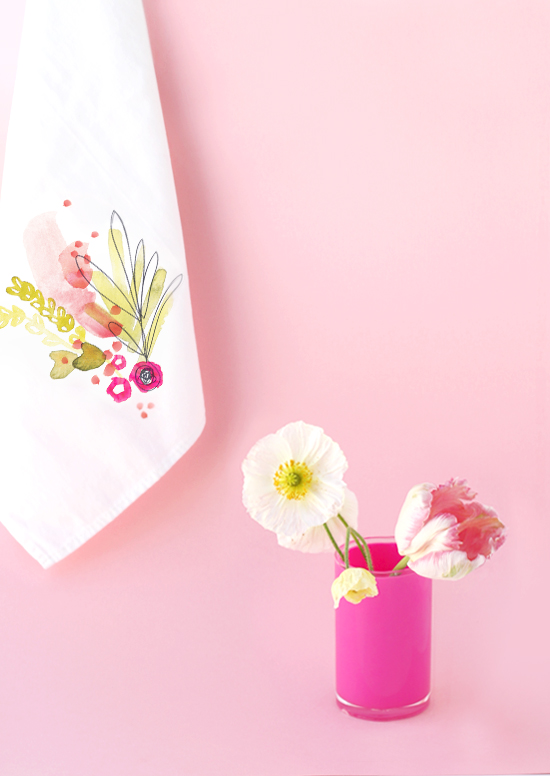 Diy linen napkin with floral transfer by Kelly Ventura