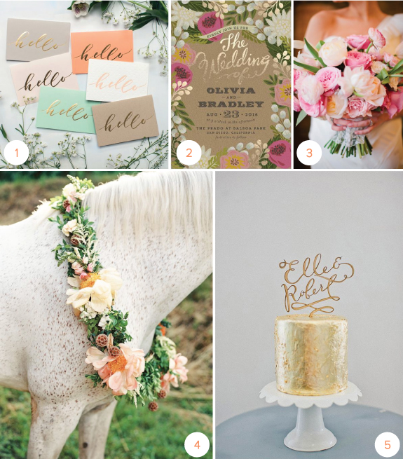 Minted Floral Invitations