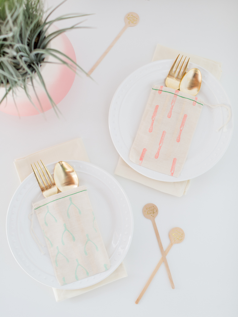 DIY patterned flatware bags