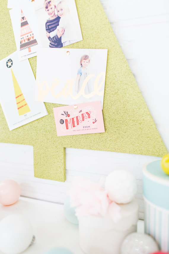 DIY cork-board holiday card holder