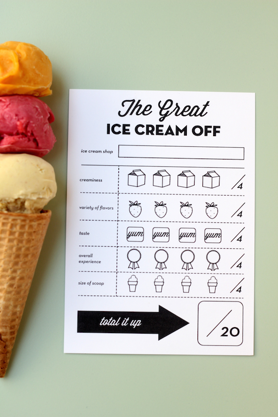 ice cream competition printable