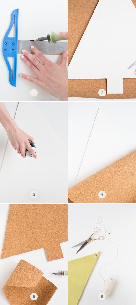 DIY cork-board holiday card holder