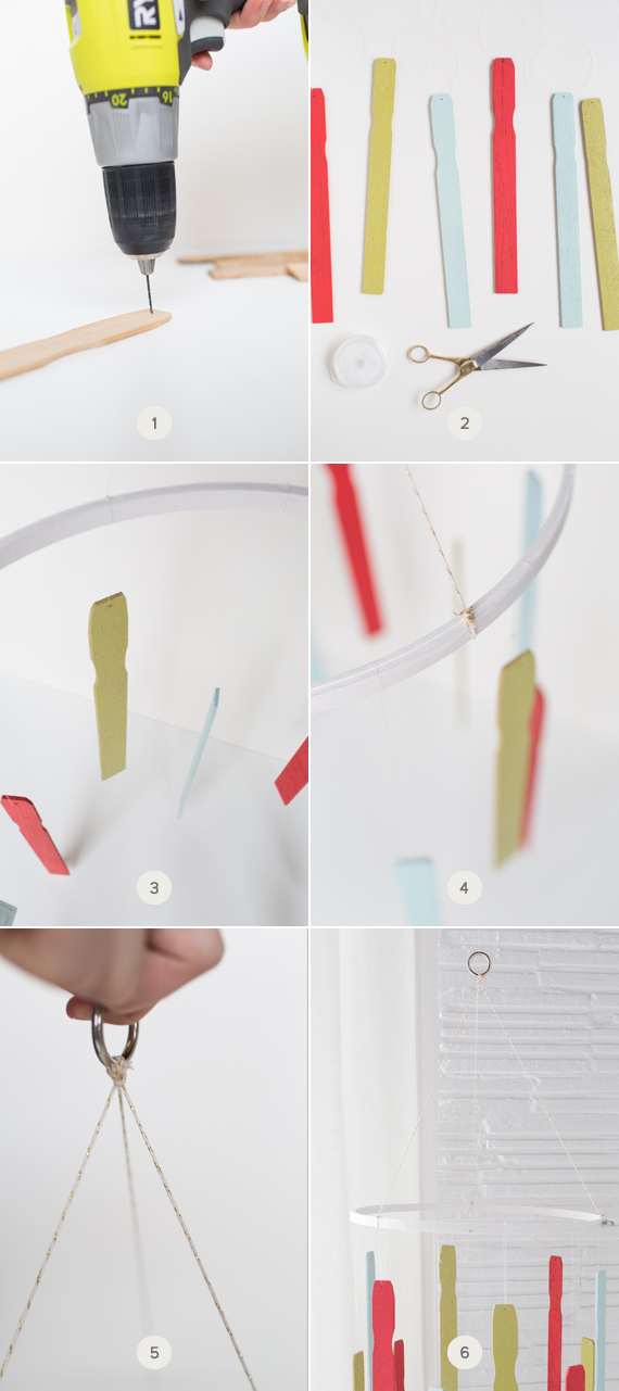 DIY paint stirrer holiday card mobile