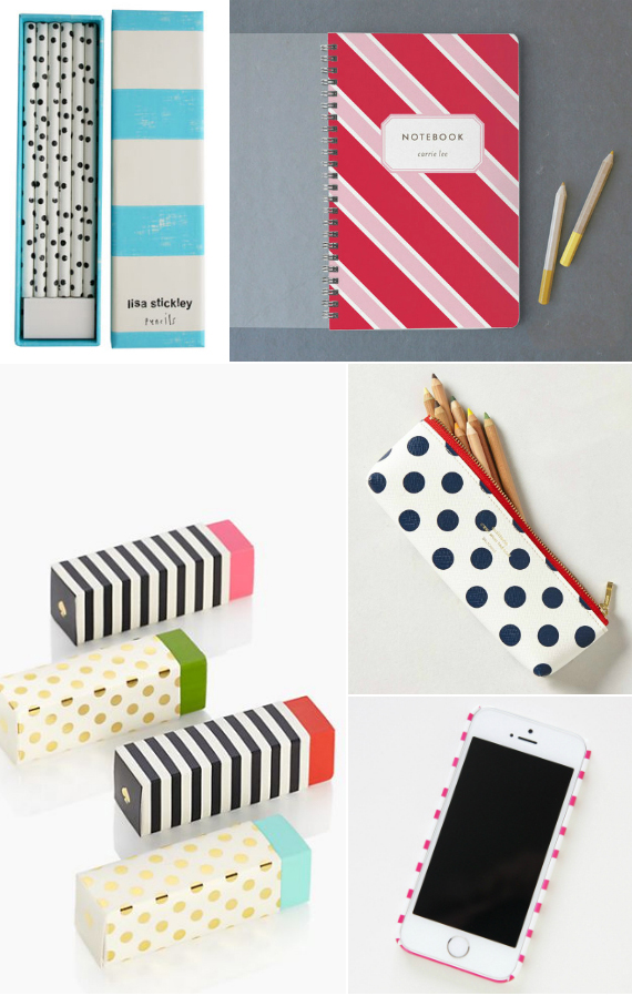 back to school gear in dots and stripes