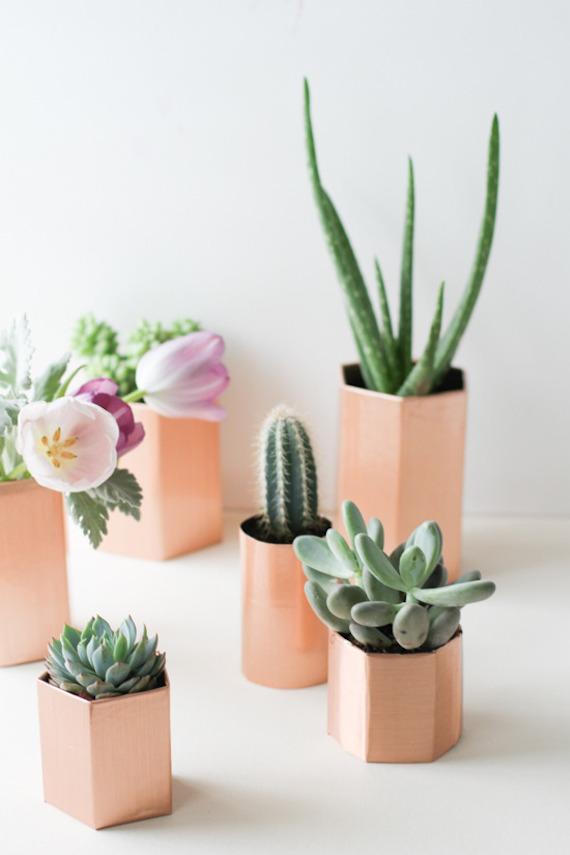 cacti succulents 5 minute copper planter diy julep